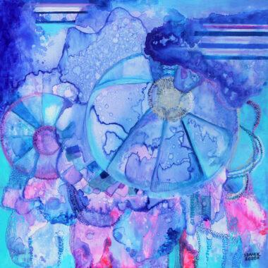 banek80x80cm akryl,mix media na płotnie 2020r z cyklu Botanika